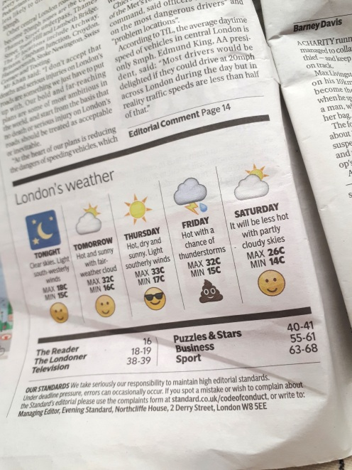 Dit weerbericht in een Engelse krant :'). Friday's just gonna be shite weather...